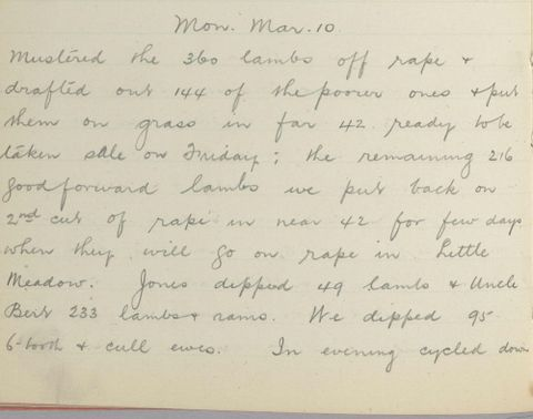 George Leslie Adkin diary entry Monday 10 March 1913