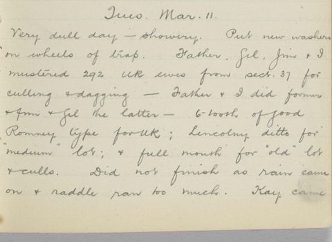 George Leslie Adkin diary entry Tuesday 11 March 1913