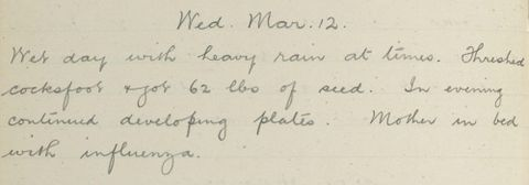 George Leslie Adkin diary entry Wednesday 12 March 1913