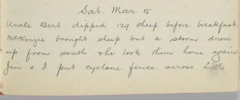 George Leslie Adkin diary entry Saturday 15 March 1913