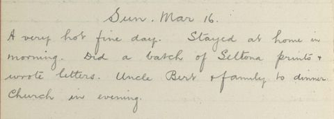 George Leslie Adkin diary entry Sunday 16 March 1913