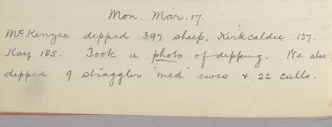 George Leslie Adkin diary entry Monday 17 March 1913