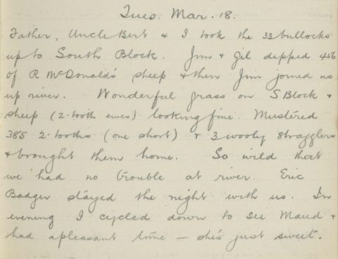 George Leslie Adkin diary entry Tuesday 18 March 1913