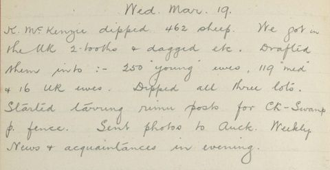 George Leslie Adkin diary entry Tuesday 19 March 1913
