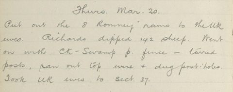 George Leslie Adkin diary entry Wednesday 20 March 1913