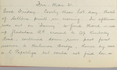 George Leslie Adkin diary entry Friday 21 March 1913