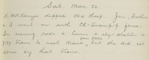 George Leslie Adkin diary entry Saturday 22 March 1913