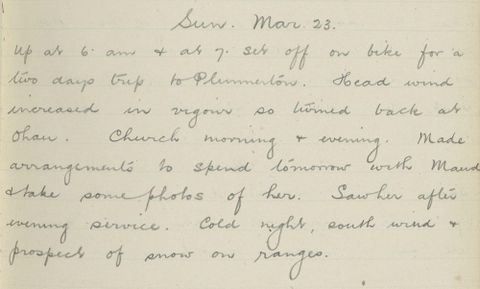 George Leslie Adkin diary entry Sunday 23 March 1913