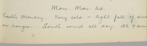 George Leslie Adkin diary entry Monday 24 March 1913