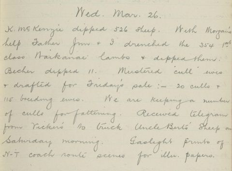 George Leslie Adkin diary entry Wednesday 26 March 1913