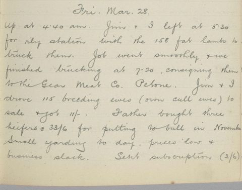 George Leslie Adkin diary entry Friday 28 March 1913