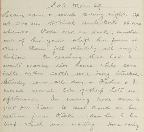 George Leslie Adkin diary entry Saturday 29 March 1913