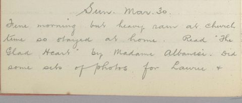 George Leslie Adkin diary entry 30 March 1913