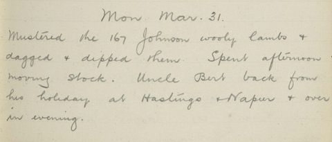 George Leslie Adkin diary entry Sunday 31 March 1913