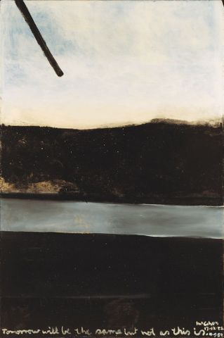 Colin McCahon, <EM>Tomorrow will be the same but not as this is</EM>, 1958, Solpah and sand on board, Collection: Christchurch Art Gallery Te Puna o Waiwhetu