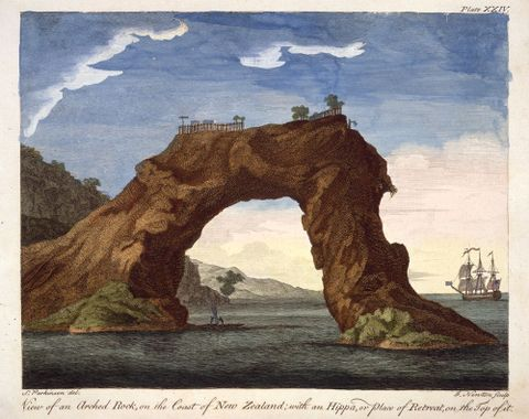 Sydney Parkinson, View of an arched rock on the coast of New Zealand with an hippa, or place of retreat, on the top of it, 1784, engraving, hand-coloured, Alexander Turnbull Library, Wellington, New Zealand PUBL-0037-24