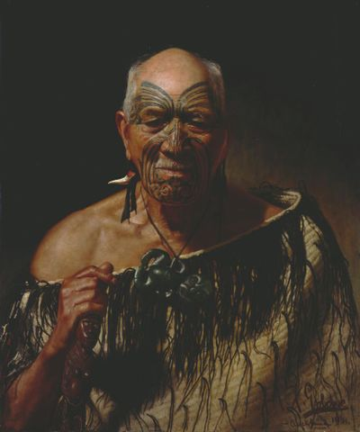 C F Goldie, <EM>Patara Te Tuhi, An Old Warrior</EM> 1901, oil on canvas, 765 x 635 mm, Auckland War Memorial Museum PB30(7)