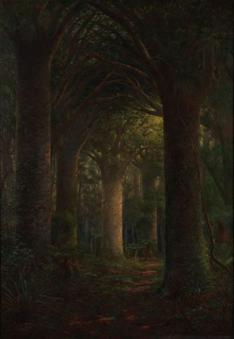 Charles Blomfield, Vaulted Aisles of Nature's Cathedral, 1921, oil on canvas, 1675 x 1220 mm, Auckland War Memorial Museum CN229