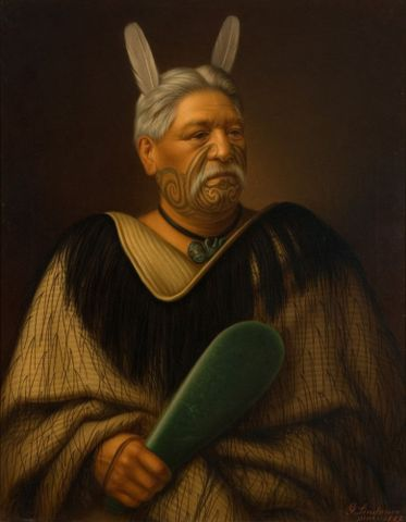Gottfried Lindauer, <EM>Wahanui Reihana Te Huatare</EM>, oil on canvas, 1022 x 838 x 50 mm, Auckland Art Gallery Toi o Tamaki 1915/2/70, gift of Mr H E Partridge, 1915 Permission of Auckland Art Gallery Toi o Tamaki must be obtained before any re-use of this image