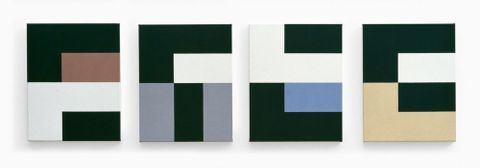 Gordon Walters, Four part painting, 1992, acrylic on four canvas panels, 500 x 400 mm each. Jennifer Gibbs Trust Collection, Auckland
