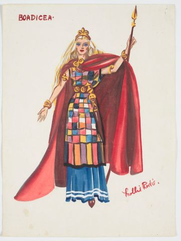 GH016492; Costume design for Pageant of British Queens 'Boadicea'; 1941; Rodie, Mollie (image/tiff)