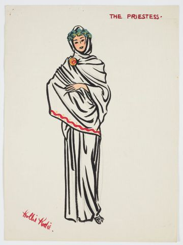 GH016493; Costume design for Pageant of British Queens 'The Priestess'; 1941; Rodie, Mollie (image/tiff)