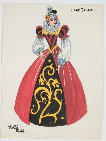 GH016496; Costume design for Pageant of British Queens 'Lady Janet'; 1941; Rodie, Mollie (image/tiff)