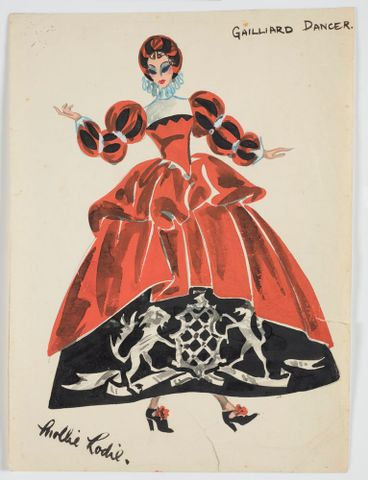 GH016497; Costume design for Pageant of British Queens 'Gailliard Dancer'; 1941; Rodie, Mollie (image/tiff)