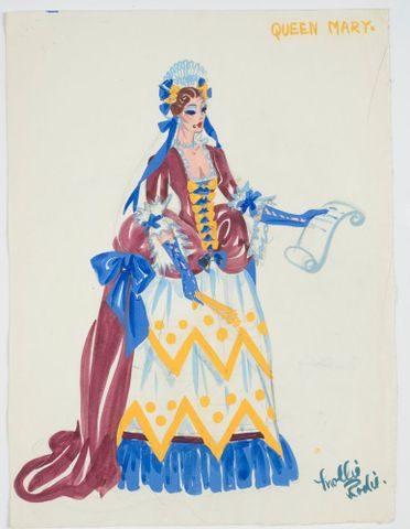 GH016499; Costume design for Pageant of British Queens 'Queen Mary'; 1941; Rodie, Mollie (image/tiff)