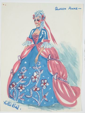 GH016502; Costume design for Pageant of British Queens 'Queen Anne'; 1941; Rodie, Mollie (image/tiff)
