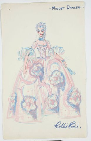 GH016505; Costume design for Pageant of British Queens 'Minuet Dancer'; 1941; Rodie, Mollie (image/tiff)