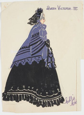 GH016509; Costume design for Pageant of British Queens 'Queen Victoria III'; 1941; Rodie, Mollie (image/tiff)