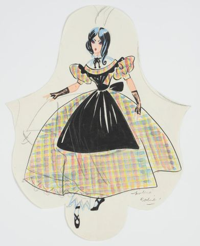 GH016512; Costume design for Pageant of British Queens 'Victoria Ballet'; 1941; Rodie, Mollie (image/tiff)