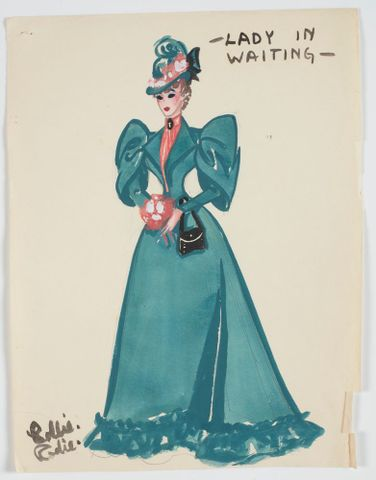 GH016513; Costume design for Pageant of British Queens 'Lady in Waiting'; 1941; Rodie, Mollie (image/tiff)