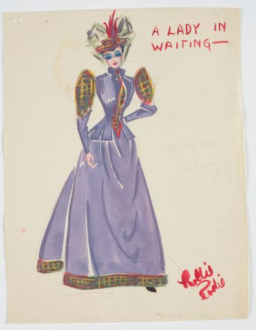 GH016514; Costume design for Pageant of British Queens 'A Lady in Waiting'; 1941; Rodie, Mollie (image/tiff)