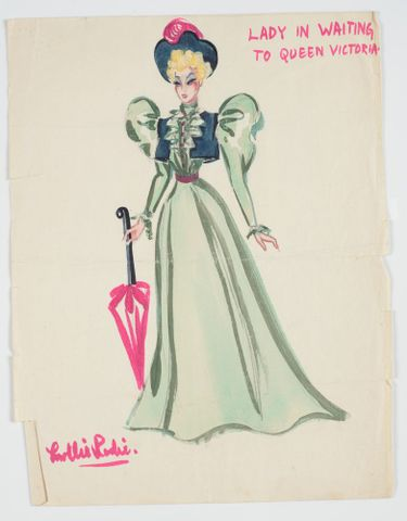 GH016515; Costume design for Pageant of British Queens 'Lady in Waiting to Queen Victoria'; 1941; Rodie, Mollie (image/tiff)