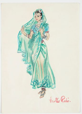 GH016530; Costume design for Pageant of Empire: [Indian dancer in green sari]; circa 1941; Rodie, Mollie (image/tiff)