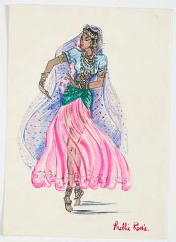 GH016531; Costume design for Pageant of Empire: [Indian dancer with lilac veil]; circa 1941; Rodie, Mollie (image/tiff)