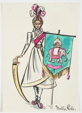 GH016534; Costume design for Pageant of Empire: [Indian standard bearer]; circa 1941; Rodie, Mollie (image/tiff)