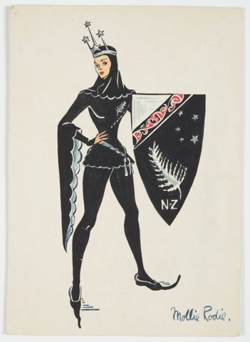 GH016536; Costume design for Pageant of Empire: [New Zealand shield bearer]; circa 1941; Rodie, Mollie (image/tiff)