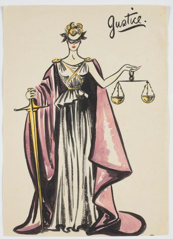 GH016541; Costume design for Victory Queen Carnival: 'Justice'; 1941; Rodie, Mollie (image/tiff)