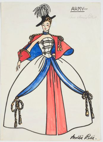 GH016546; Costume design for Victory Queen Carnival: 'Army'; 1941; Rodie, Mollie (image/tiff)