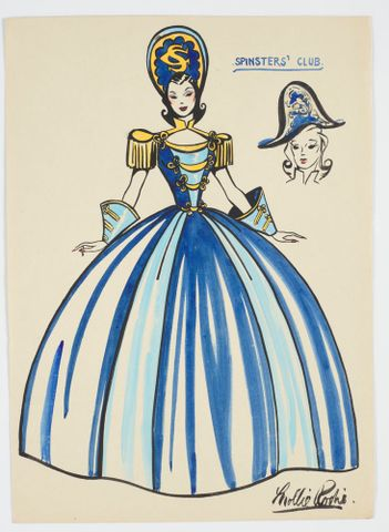 GH016547; Costume design for Victory Queen Carnival: 'Spinsters' Club'; 1941; Rodie, Mollie (image/tiff)