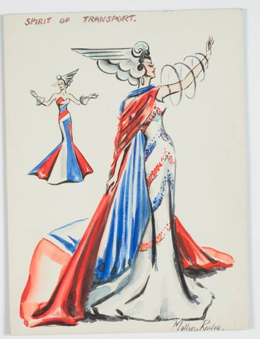 GH016554; Costume design for Victory Queen Carnival: 'Spirit of Transport'; 1941; Rodie, Mollie (image/tiff)