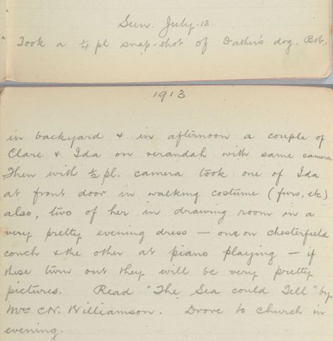 George Leslie Adkin diary entry Sunday 13 July 1913