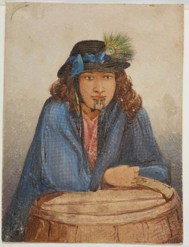 Portrait taken amongst kauri gum diggers, Te Papa