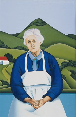 Robin White, <EM>Florence and harbour cone</EM>, 1974, oil on canvas, Collection: Christchurch Art Gallery Te Puna o Waiwhetu