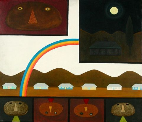 Michael Illingworth, <EM>Painting with rainbow I</EM>, 1965, oil on canvas, 838 x 965 mm, Auckland Art Gallery Toi o Tamaki 1965/14/2 Permission of Auckland Art Gallery Toi o Tamaki must be obtained before any re-use of this image