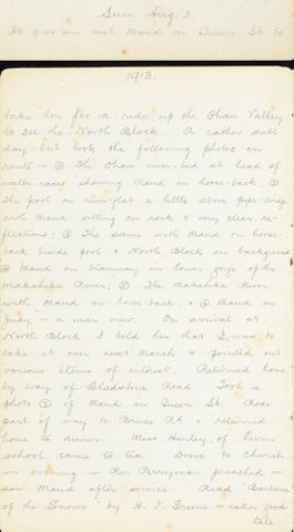 George Leslie Adkin diary entry Sunday 3 August 1913