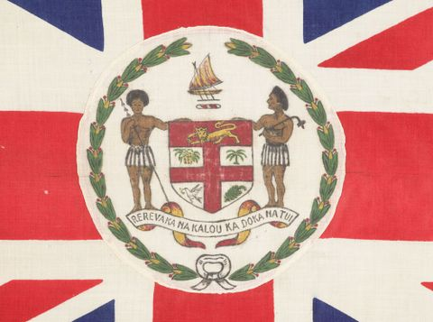 FE012735; Union Jack flag with Fijian crest; circa 1908; Fijian; Unknown ; detail 1 (image/tiff)